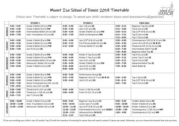 MISD 2019 Timetable Term 1