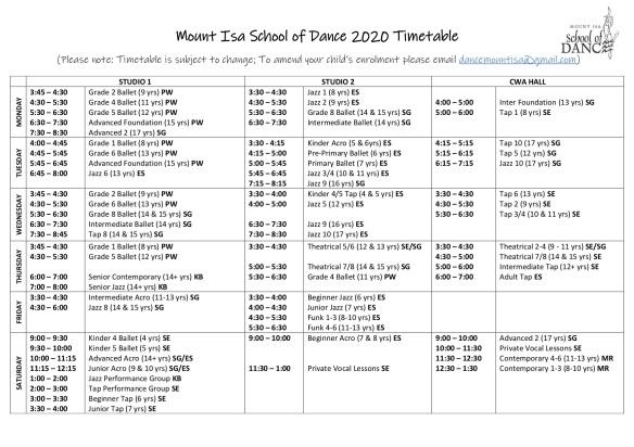 2020 Timetable Term 1