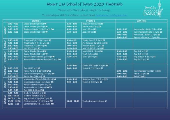 2020 Timetable Term 3-2