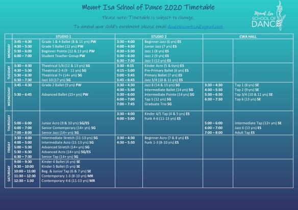 2020 Timetable Term 4