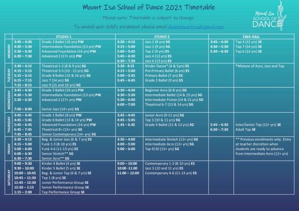 2021 Timetable Term 1 colour