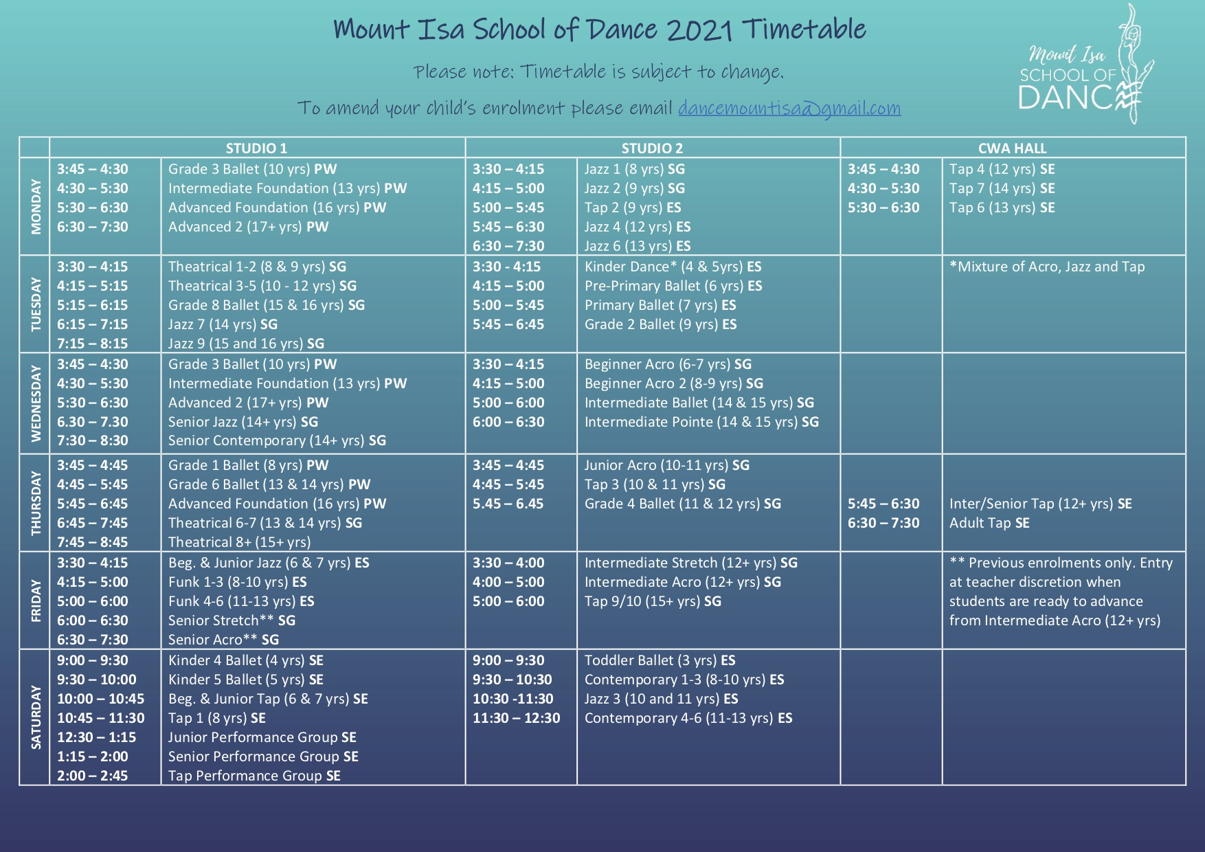 2021 Timetable Term 1 update
