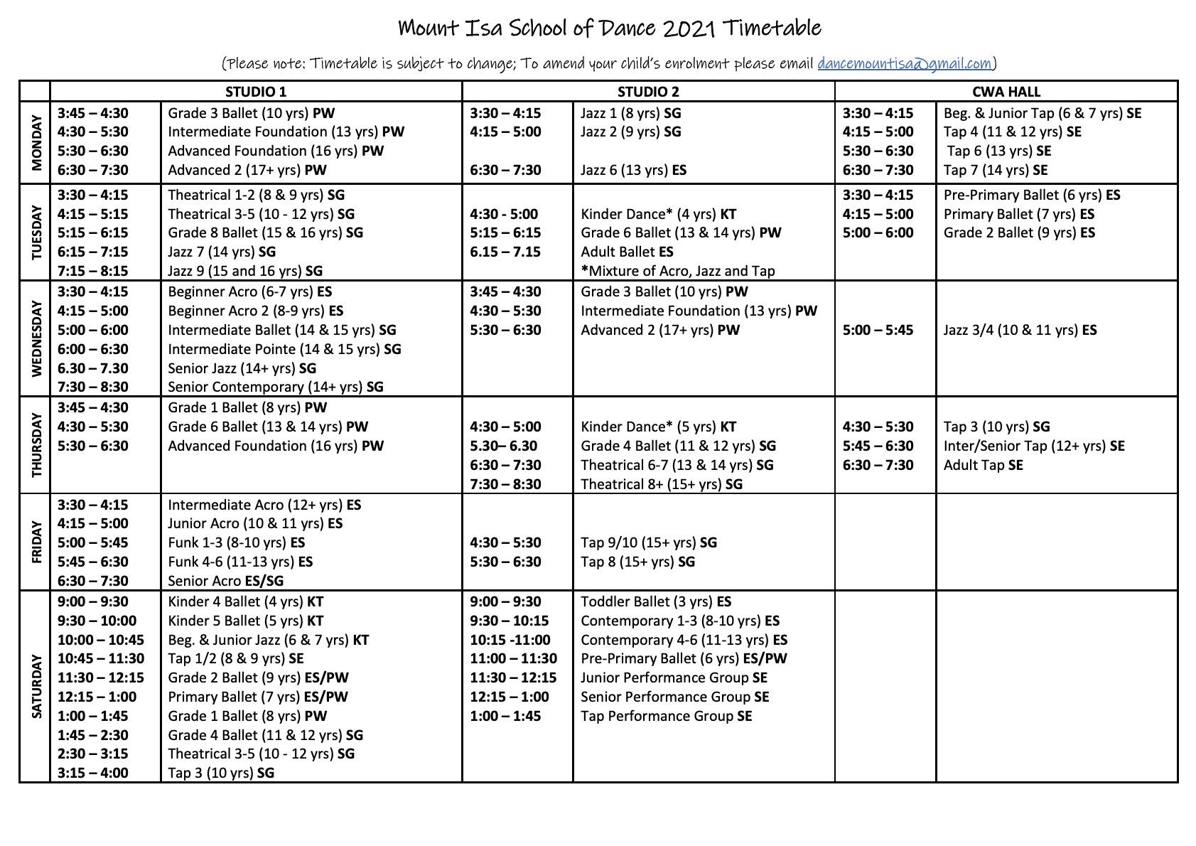 2021 Timetable Term 3-2