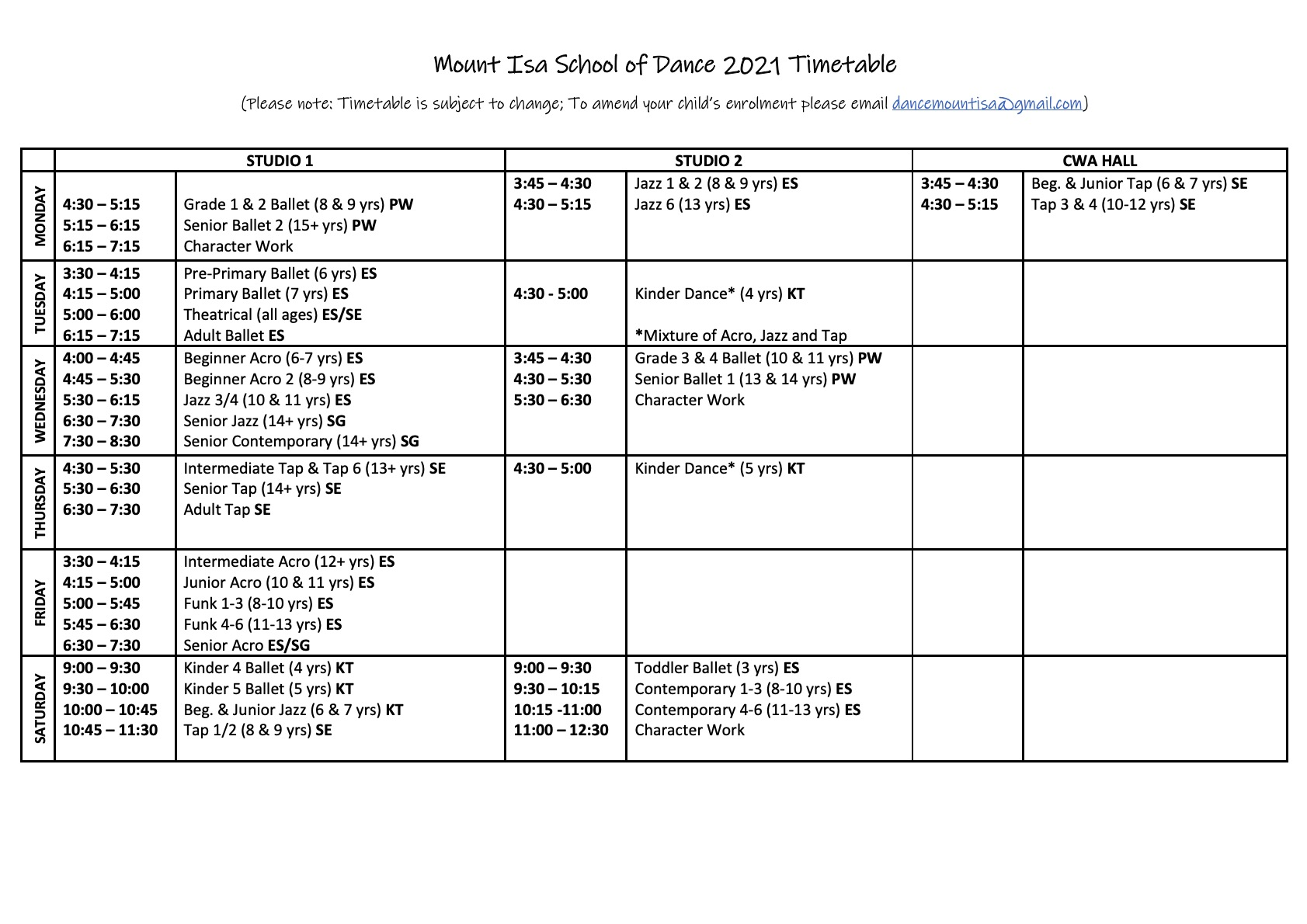2021 Timetable Term 4